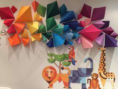 Marwan's geometric animal 2nd birthday party | CatchMyParty.com DIY Geometric rainbow backdrop