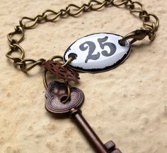 Mailbox Number and Key Bracelet  Number 25 by IndustrialWhimsy, $12.00