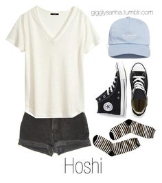 """""""Casual City Date // Hoshi"""" by suga-infires ❤ liked on Polyvore featuring Converse, Levi's, The Hundreds, H&M and Madewell"""