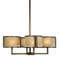 If one is good, four is better! A 4-shade Hammerton contemporary drum chandelier with wash cream diffusers, a flat Bronze finish and distressed edge motif.
