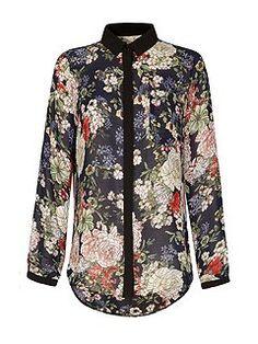Floral Print Contrast Shirt