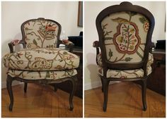 The Bergere chair after some upholstery magic!