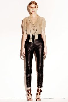 Nude top, leather pants- Chloe