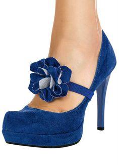 Sapato Feminino Detalhe Flor Azul - Posthaus
