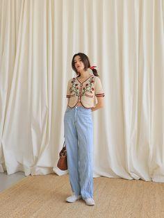 Ulzzang Fashion, Asian Fashion, Women's Fashion, Sweet Style, My Style, Flower Shorts, Jeans Price, Asian Style, Korean Style