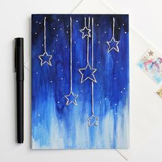 Maybe put down tape to make this look before melting crayons on a canvas? Make this dreamy falling stars card for someone awesome. It's easy and fun! Star Painting, Painting & Drawing, Dot Painting, Diy Canvas, Canvas Art, Crayon Art, Melting Crayons, Easy Paintings, Simple Paintings On Canvas