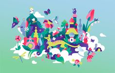 LOVELY SPRINGIllustrations for a spring campaign for Lotte World Mall, the biggest shopping centre in Seoul, Korea.Production and display design and animation by TIST. 2016 / Lotte World Mall Hare Illustration, Landscape Illustration, Character Illustration, Graphic Illustration, Helsinki, Chinese New Year Gifts, Lotte World, Pole Art, City Art