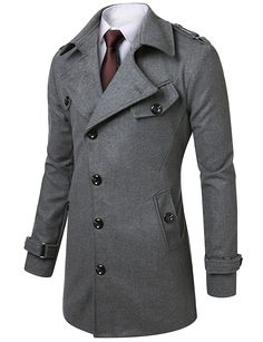 Mens Slim Fit Half Coat with Belt #doublju