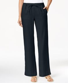 Charter Club Linen Pull-On Drawstring Pants, Only at Macy's