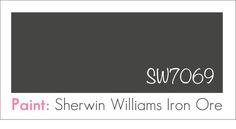 A dark, luscious steel gray: Sherwin Williams Iron Ore [SW7069 ...