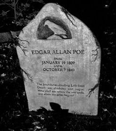 This is the tombstone of Edgar Allan Poe. It has a bird on it. I think he has a famous poem about a bird and is why it's on his tombstone. Perhaps he liked birds very much.