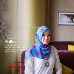NEW ARRIVAL! Hagia Polka Jilbab Segitiga Instan yang praktis dengan motif polka besar dan pilihan warna yang cerah.