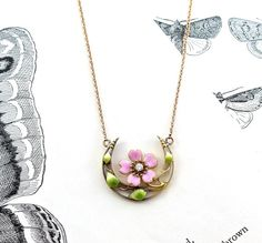 Victorian Honeymoon Crescent Necklace, Antique 10k Enamel and Diamond Pendant, Art Nouveau Wild Pink Rose, Bridal Anniversary Love Token