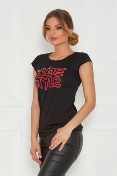 Tričko s krátkym rukávom, okrúhlym výstrihom a červenou potlačou