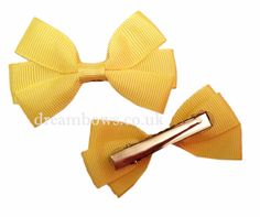 Yellow grosgrain ribbon hair bows on alligator clips - www.dreambows.co.uk