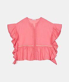 Poncho con encaje y bordados Ruffle Blouse, Shopping, Tops, Women, Fashion, Fashion For Men, Woman, Templates, Lace