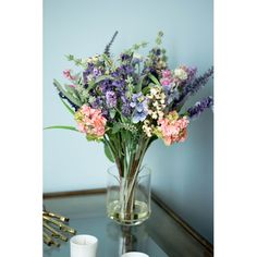 Found it at Wayfair - Rosemary Lavender and Hydrangea in Glass Vase