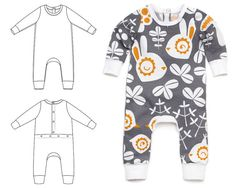 Baby one-piece sewing pattern pdf download, pattern and tutorial included -Pattern 68
