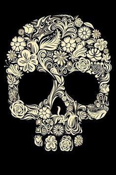 Sugar skull & flowers