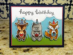 Lawn Fawn - Party Animal, Puffy Cloud Borders, Grassy Border, Pint-sized Patterns, Beachside _ card by Kelly Marie for Lawn Fawn Design Team