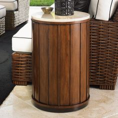 Tommy Bahama Ocean Club Fiji Round Wood and Travertine Drum Table - 01-0536-950C