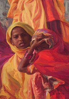 """Enfolded In Color, India"" - Scott Burdick (b. 1967), oil on canvas {figurative #impressionist artist beautiful tribal young women portrait #impasto texture painting #loveart} scottburdick.com"