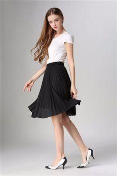 Tulle Pleated Chiffon Skirt  Vintage Midi Skirt