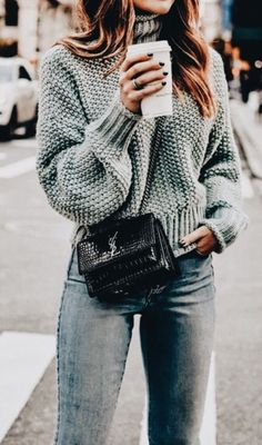 Love this oversized knit sweater.