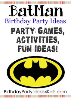 Batman Party Ideas! Fun ideas for a Batman theme birthday party for kids.   Batman theme party games, activities, party food ideas, icebreaker game, decoration and invitation ideas.  http://www.birthdaypartyideas4kids.com/batman-party.html