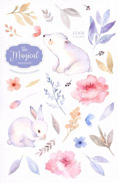 The Magical Moment Watercolor Set by everysunsun on @creativemarket