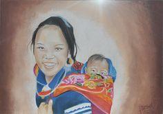 - jeune femme vietnamienne portant son enfant