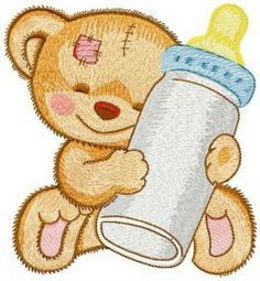 Favorite baby bottle machine embroidery design. Machine embroidery design. www.embroideres.com
