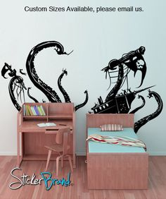 Vinyl Wall Decal Sticker Pirate Ship Attack by by Stickerbrand, $39.95.. Cool for lite boys room!