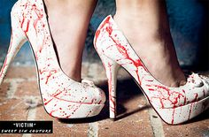 Blood spatter heels. Perfect for Halloween or the crime scene.