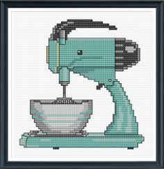 Retro Kitchen Mixer Cross Stitch Pattern Instant Download