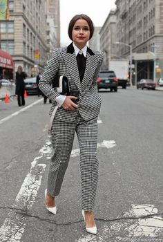 Beautiful tailoring - Miroslava Duma in menswear. www.girlinmenswear.com