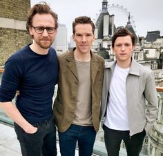 """thelostsmiles: """"Tom Hiddleston, Benedict Cumberbatch, and Tom Holland in London on GMA promoting Avengers Infinity War. 9 April 2018. (v) """""""