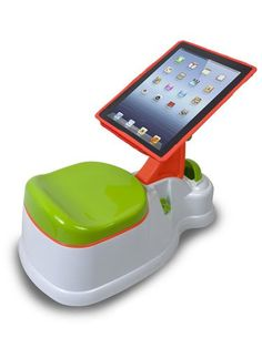 This child-friendly potty comes with a touch-screen cover to  protect the iPad from messy accidents. #PottyTraining (Photo by: Courtesy of the Company)