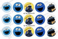 ☼‡ Instant Download Cookie Monster 1 inch circle #digital Bottle #cap #images Inspired http://etsy.me/2dh8DB4