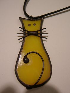 Tiffany Stained Glass  Pendant -cat