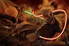 Lumiya vs Luke Skywalker by catsouille