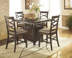 D480-32 | Ashley Hayley Square DRM Counter Table Dark Brown Finish | Big Sandy Superstores |