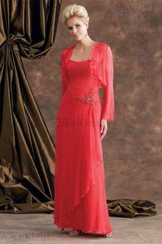 Knöchellang Anständiges Luxuriös Chiffon Perlenstickerei Brautmutterkleid - Bild 1