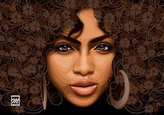 art and afro Black Girl Art, Black Women Art, Black Girls Rock, Art Girl, African American Art, African Art, Natural Hair Art, Natural Hair Styles, Natural Curls