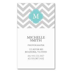 Mint & Gray Zigzags Pattern Monogram Business Card Templates
