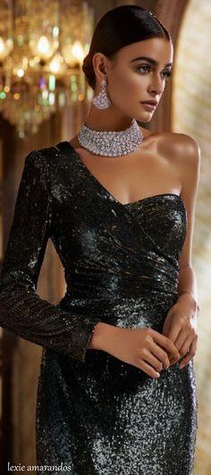 Black sexy glamorous dress with jewels ~  #fashion, #blackdress #accessories