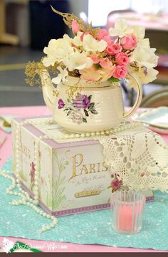 Bridal Shower Decorations 798544577662830953 - Tea Party Bridal Shower Ideas for an elegant and beautiful tea party themed bridal shower. Love the mint pink and gold color combination. Pretty and vintage! Retro Bridal Showers, Garden Bridal Showers, Elegant Bridal Shower, Garden Shower, Gold Bridal Showers, Tea Party Centerpieces, Tea Party Decorations, Bridal Shower Centerpieces, Teapot Centerpiece