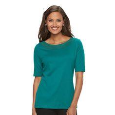 Women's Croft & Barrow® Crochet Tee, Size: Small, Med Green