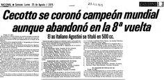 Cecotto se coronó campeón mundial aunque abandonó en la 8a vuelta. Publicado el 25 de agosto de 1975