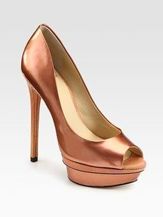 B Brian Atwood - Florencia Patent Leather Peep Toe Platform Pumps in Rose Gold. I LOVE this color and the heel? Don't get me started! Heading over to my money tree now. #LoveIt